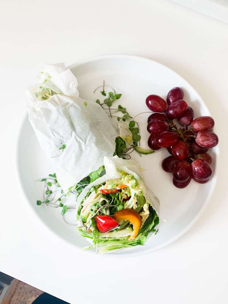 10 Easy Whole30 Lunch Or Emergency Meals wrap and grapes