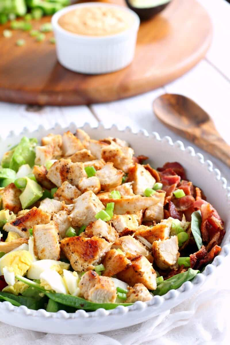 Paleo Chicken Cobb Salad with Buffalo Ranch by Paleo Running Momma