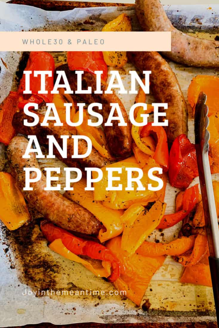 Mamma Mia's Whole30 Sausage and Peppers Pinterest banner