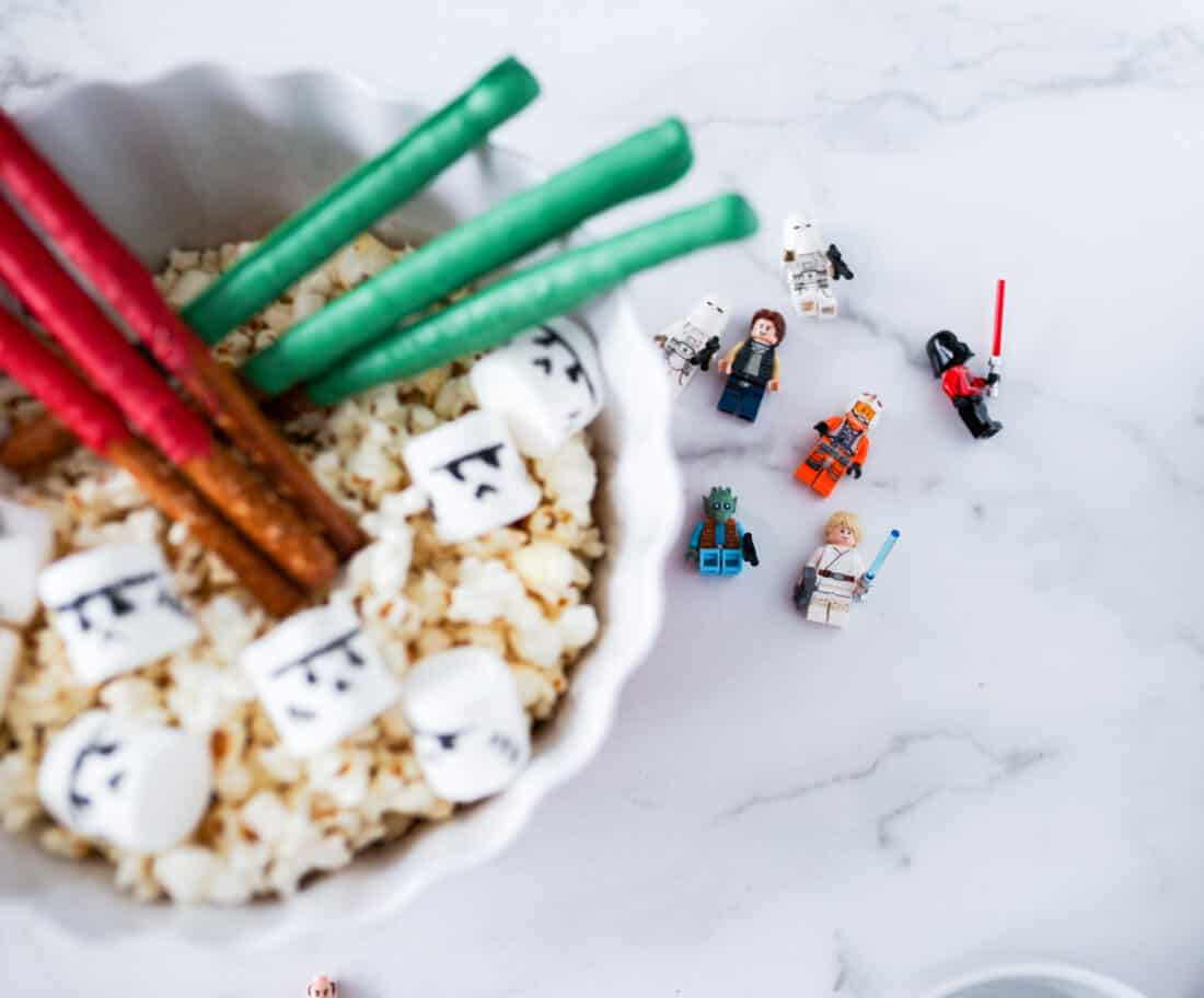 Star Wars toys and popcorn