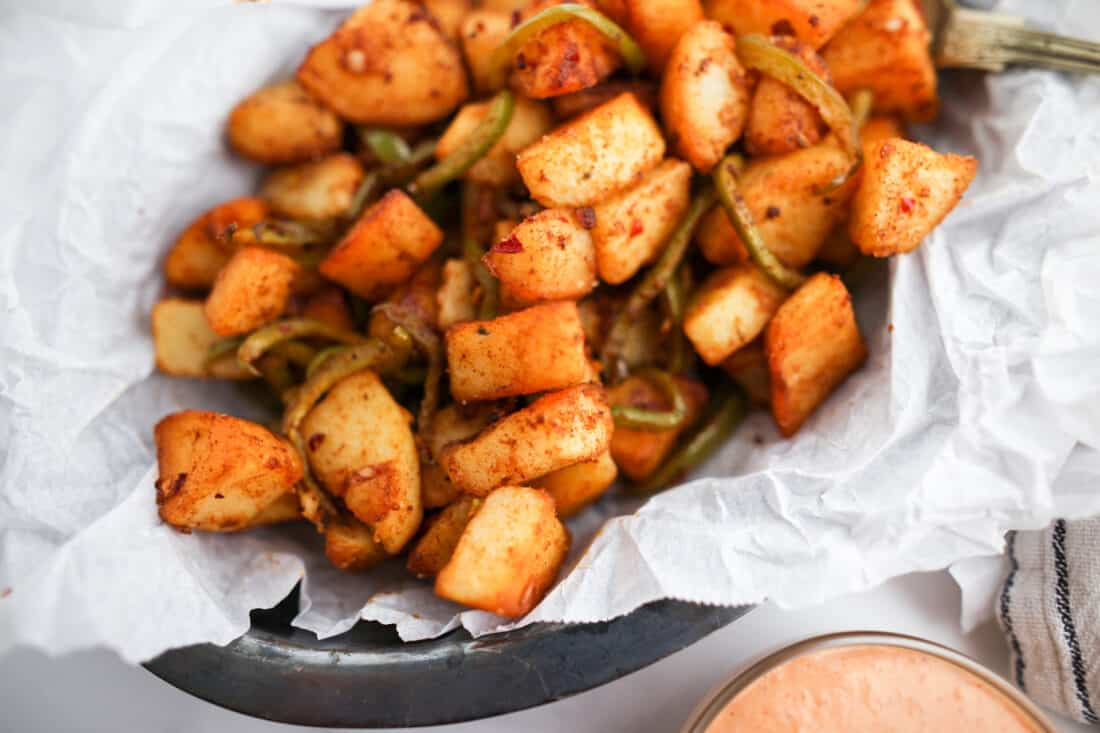 Patats Bravas made whole30 friendly and served on a plate